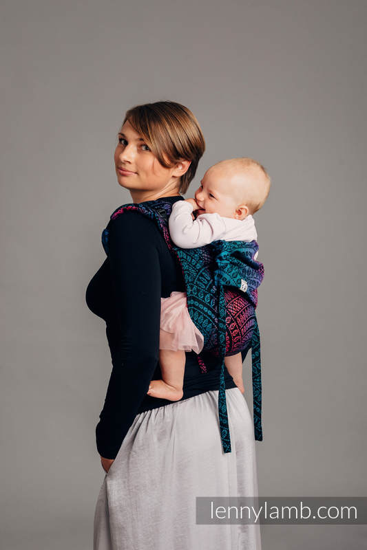 Lenny Buckle Onbuhimo baby carrier, Standard size, jacquard weave (60% combed cotton, 28% Merino wool, 8% silk, 4% cashmere) - PEACOCK'S TAIL - BLACK OPAL #babywearing