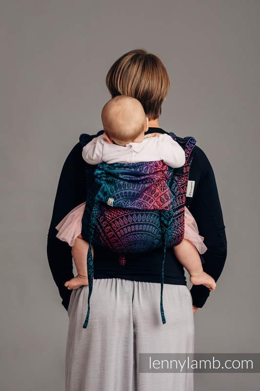 Nosidło Klamrowe ONBUHIMO z tkaniny żakardowej (60% bawełna czesana, 28% wełna merino, 8% jedwab, 4% kaszmir), rozmiar Standard - PAWI OGON - CZARNY OPAL #babywearing