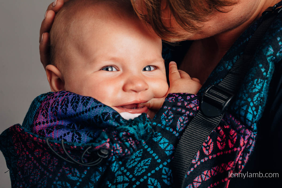 Ergonomic Carrier, Baby Size, jacquard weave 60% combed cotton, 28% Merino wool, 8% silk, 4% cashmere - PEACOCK'S TAIL - BLACK OPAL, Second Generation #babywearing