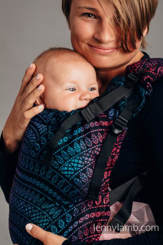 LennyUp Carrier, Standard Size, jacquard weave (60% combed cotton, 28% Merino wool, 8% silk, 4% cashmere) - PEACOCK'S TAIL - BLACK OPAL #babywearing