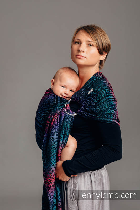 Ringsling, Jacquard Weave (60% combed cotton, 28% Merino wool, 8% silk, 4% cashmere) - PEACOCK'S TAIL - BLACK OPAL - long 2.1m #babywearing