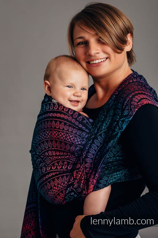 Baby Wrap, Jacquard Weave (60% combed cotton, 28% Merino wool, 8% silk, 4% cashmere) - PEACOCK'S TAIL - BLACK OPAL - size M #babywearing