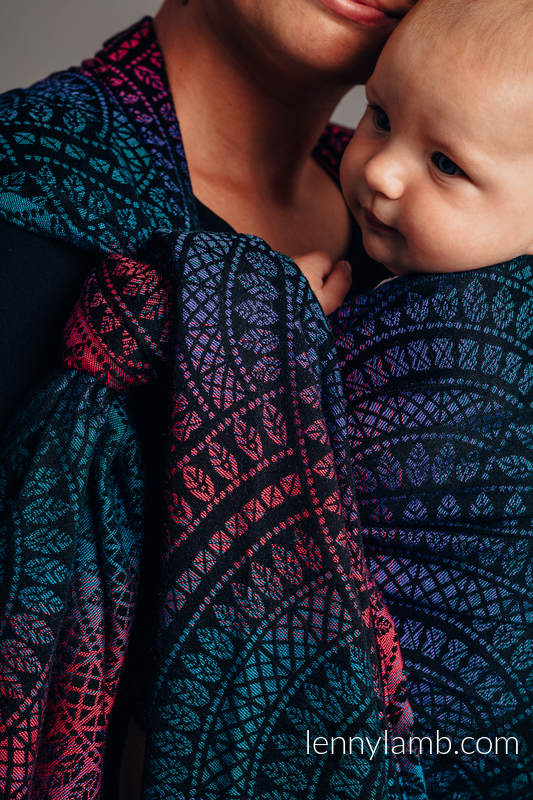 Baby Wrap, Jacquard Weave (60% combed cotton, 28% Merino wool, 8% silk, 4% cashmere) - PEACOCK'S TAIL - BLACK OPAL - size L #babywearing