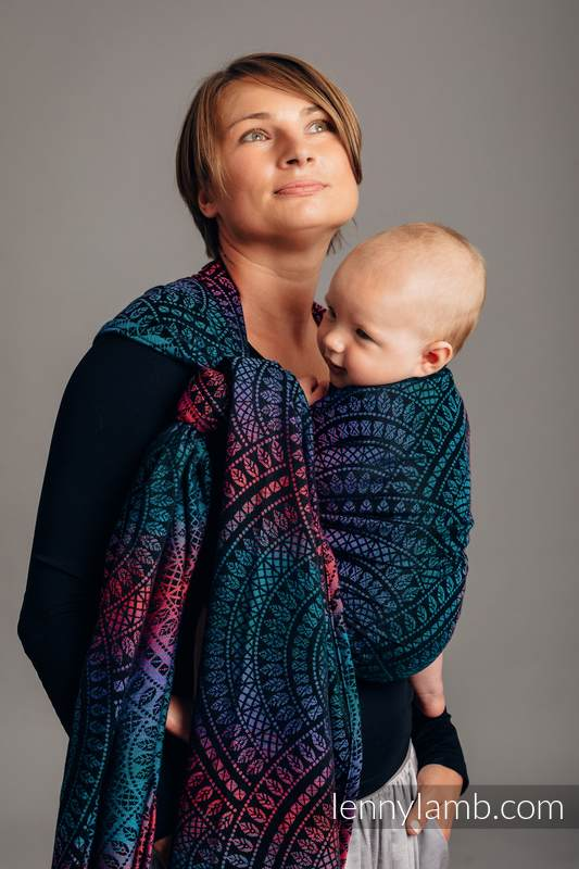 Baby Wrap, Jacquard Weave (60% combed cotton, 28% Merino wool, 8% silk, 4% cashmere) - PEACOCK'S TAIL - BLACK OPAL - size S #babywearing