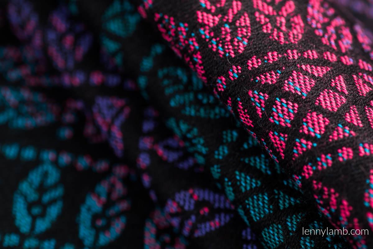 Fular, tejido jacquard (60% algodón, 28% lana merino, 8% seda, 4% cachemir) - PEACOCK'S TAIL - BLACK OPAL - talla XL #babywearing
