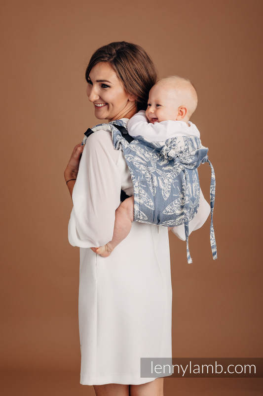 Lenny Buckle Onbuhimo, Standard  size, jacquard weave (53% cotton, 33% linen, 14% tussah silk) - QUEEN OF THE NIGHT - TAMINO #babywearing