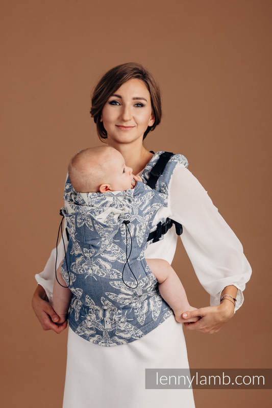 Ergonomic Carrier, Baby Size, jacquard weave (53% cotton, 33% linen, 14% tussah silk) - wrap conversion from QUEEN OF THE NIGHT - TAMINO - Second Generation #babywearing