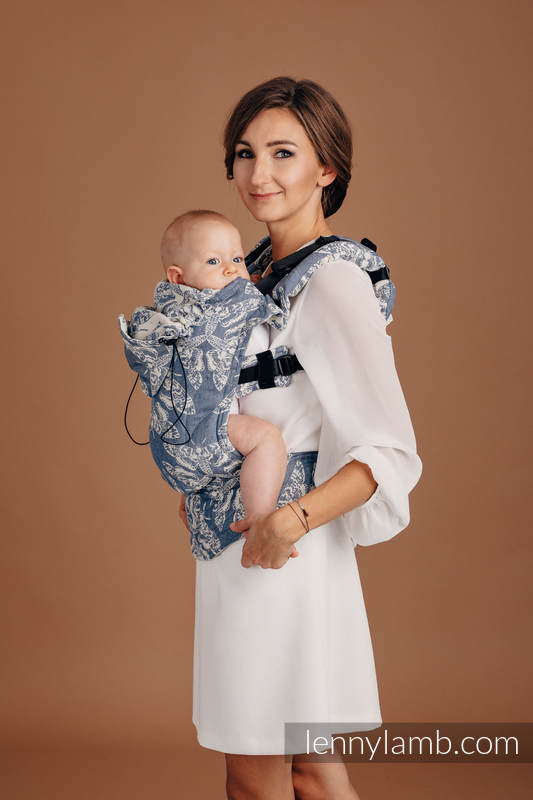 Ergonomic Carrier, Baby Size, jacquard weave (53% cotton, 33% linen, 14% tussah silk) - QUEEN OF THE NIGHT - TAMINO - Second Generation #babywearing