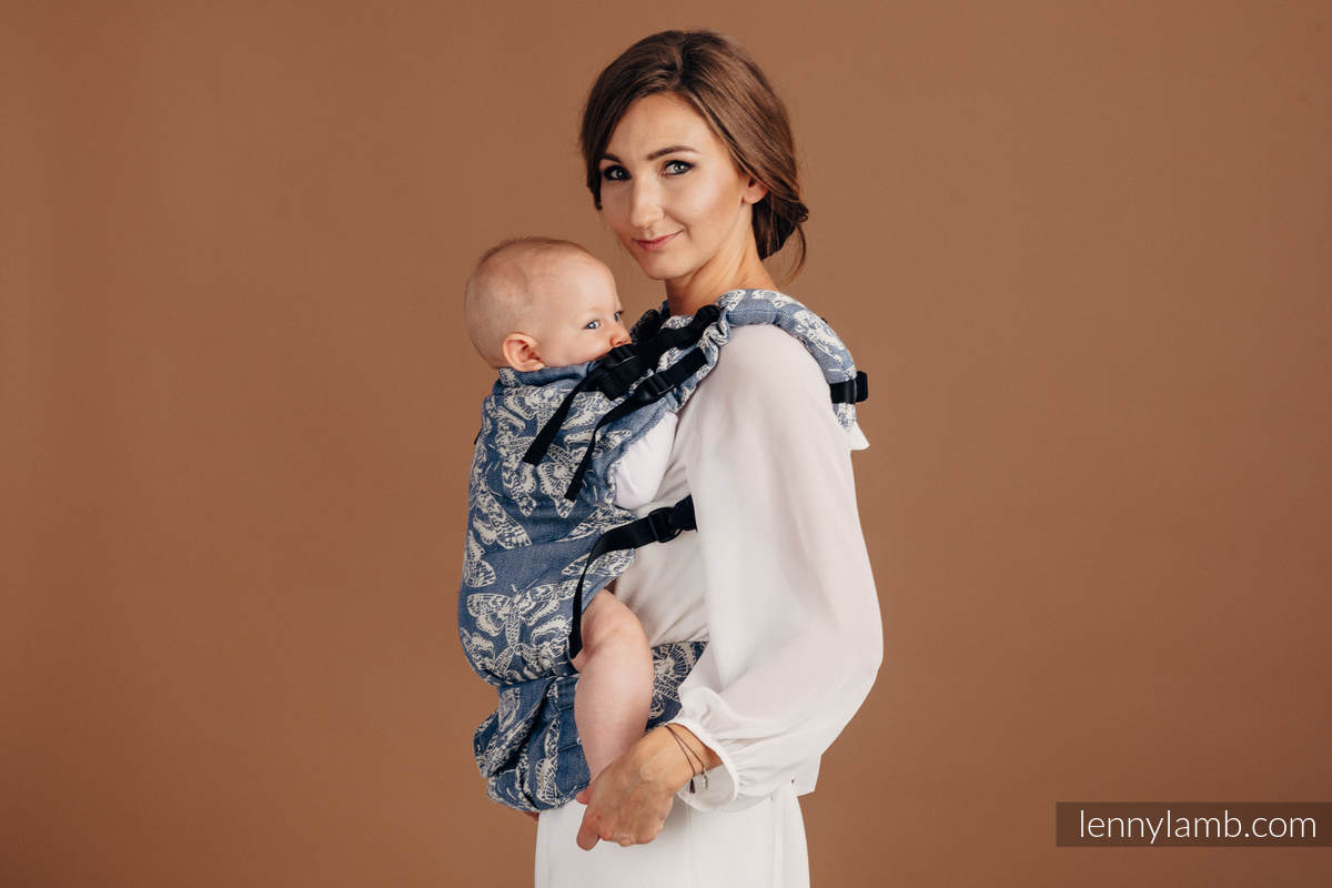 LennyUp Carrier, Standard Size, jacquard weave (53% cotton, 33% linen, 14% tussah silk) - wrap conversion from QUEEN OF THE NIGHT - TAMINO #babywearing