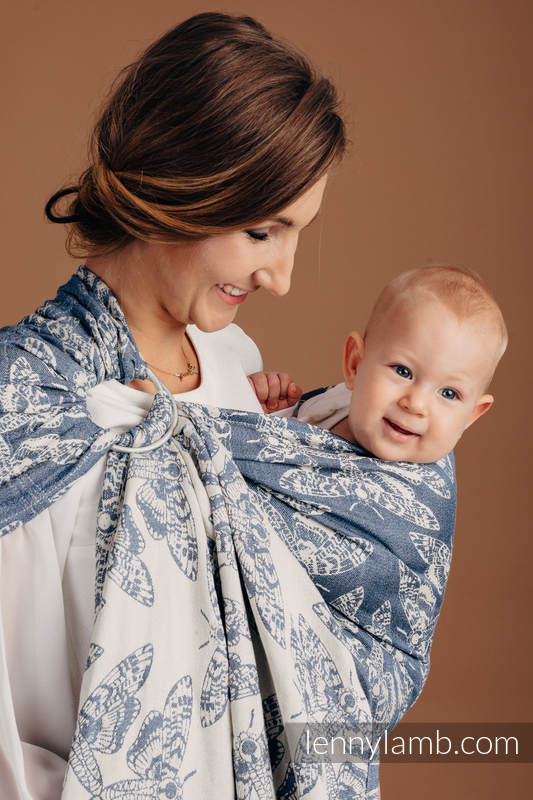 Ringsling, Jacquard Weave, with gathered shoulder (53% cotton, 33% linen, 14% tussah silk) - QUEEN OF THE NIGHT - TAMINO (grade B) #babywearing