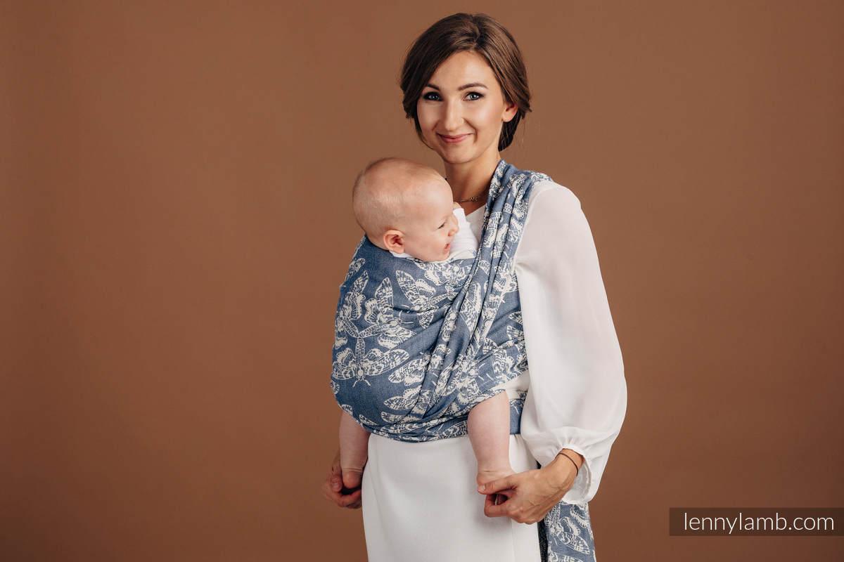Żakardowa chusta do noszenia dzieci, (53% bawełna, 33% len, 14% jedwab Tussah) - KRÓLOWA NOCY - TAMINO - rozmiar XS #babywearing