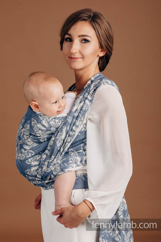 Baby Wrap, Jacquard Weave (53% cotton, 33% linen, 14% tussah silk) - QUEEN OF THE NIGHT - TAMINO - size XL #babywearing
