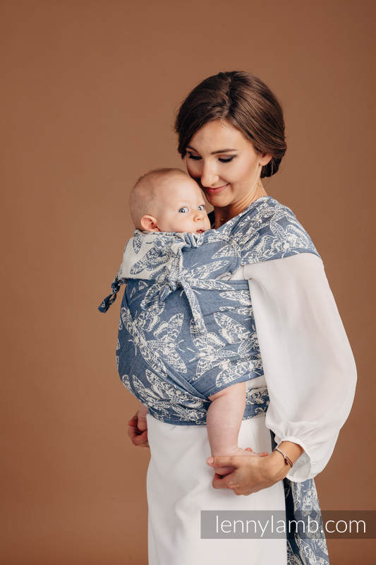 WRAP-TAI carrier Mini with hood/ jacquard twill (53% cotton, 33% linen, 14% tussah silk) - QUEEN OF THE NIGHT - TAMINO #babywearing