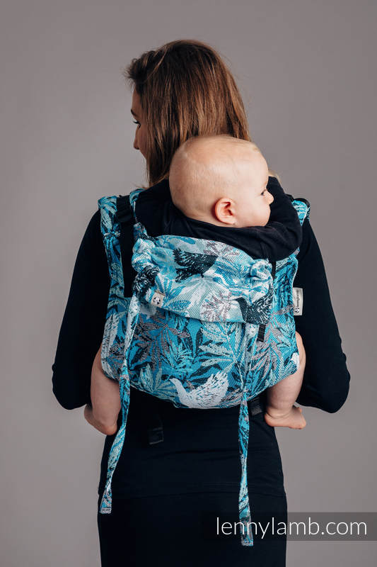 Lenny Buckle Onbuhimo baby carrier, standard size, jacquard weave (100% cotton) - FLUTTERING DOVES  #babywearing