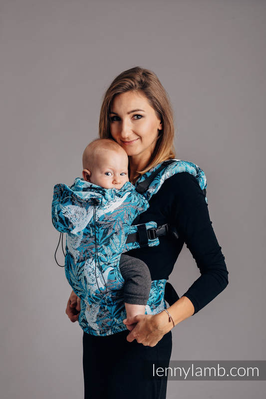 Ergonomic Carrier, Baby Size, jacquard weave 100% cotton - FLUTTERING DOVES - Second Generation #babywearing