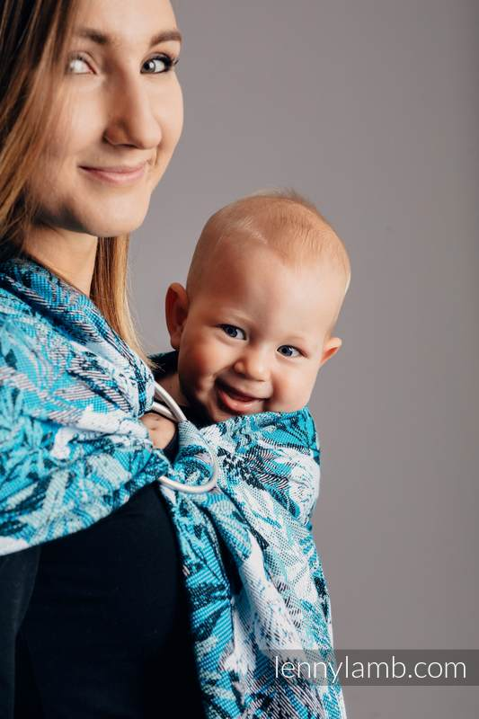 Ringsling, Jacquard Weave (100% cotton) - with gathered shoulder - FLUTTERING DOVES  - long 2.1m #babywearing