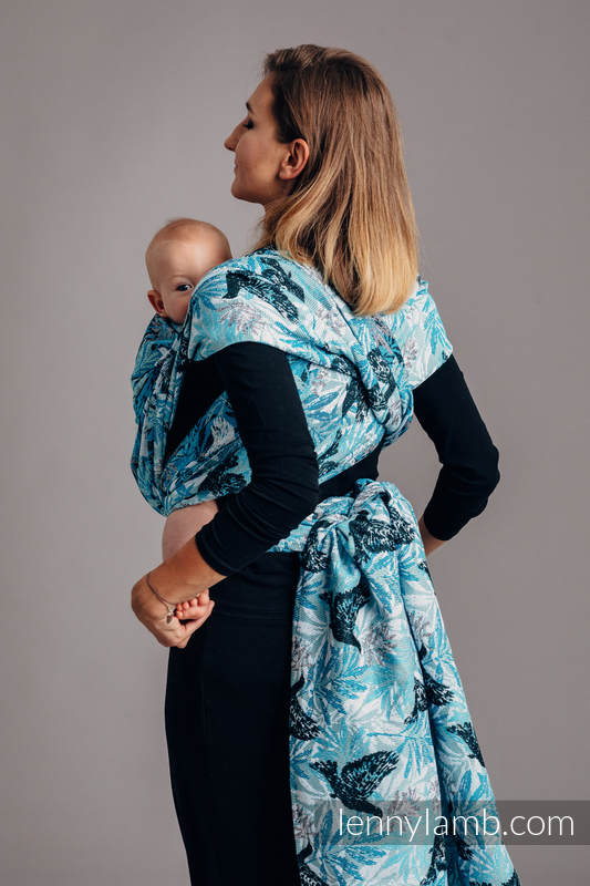Baby Wrap, Jacquard Weave (100% cotton) - FLUTTERING DOVES  - size XS #babywearing