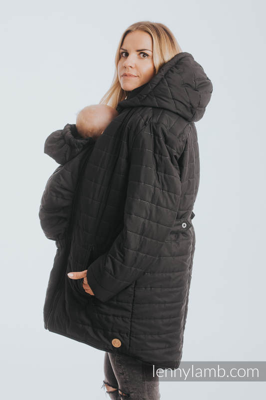 Two-sided Babywearing Parka Coat - size L -  Khaki - Black (grade B) #babywearing