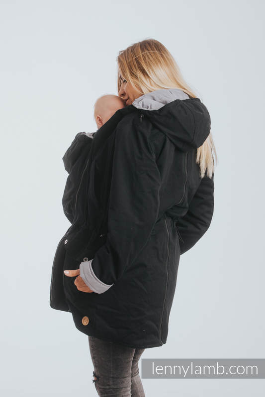 de9c8c0007d27 Two-sided Babywearing Parka Coat - size L - Black - Grey #babywearing