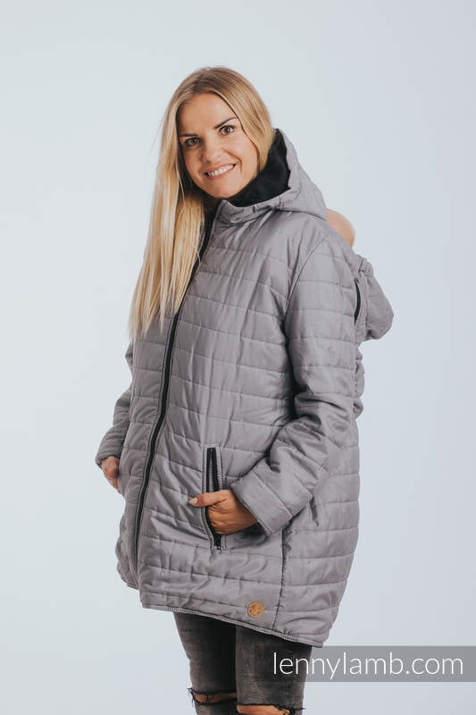 Two-sided Babywearing Parka Coat - size 4XL - Black - Grey (grade B) #babywearing
