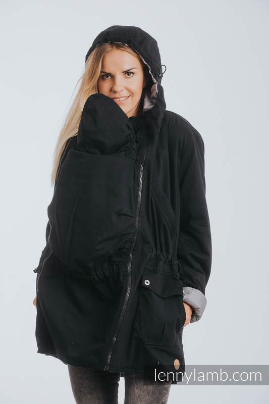 Two-sided Babywearing Parka Coat - size M -  Black - Grey #babywearing