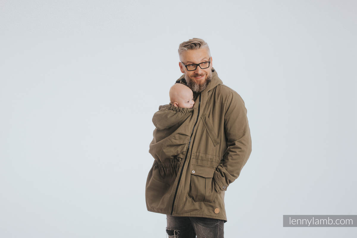 Two-sided Babywearing Parka Coat - size M -  Khaki - Black #babywearing
