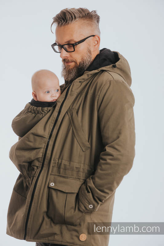 1c9004e06cf92 Two-sided Babywearing Parka Coat - size M - Khaki - Black #babywearing