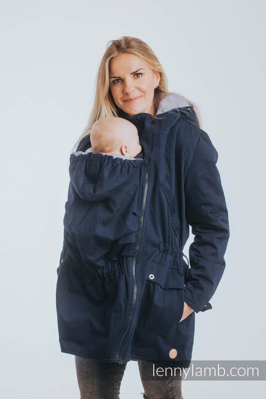 Two-sided Babywearing Parka Coat - size 3XL - Navy Blue - Grey #babywearing