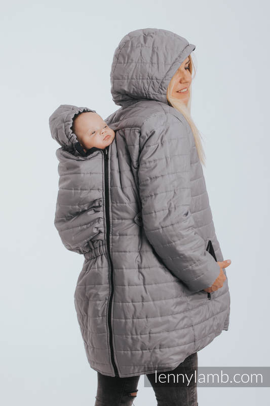 Two-sided Babywearing Parka Coat - size XL -  Navy Blue - Grey (grade B) #babywearing