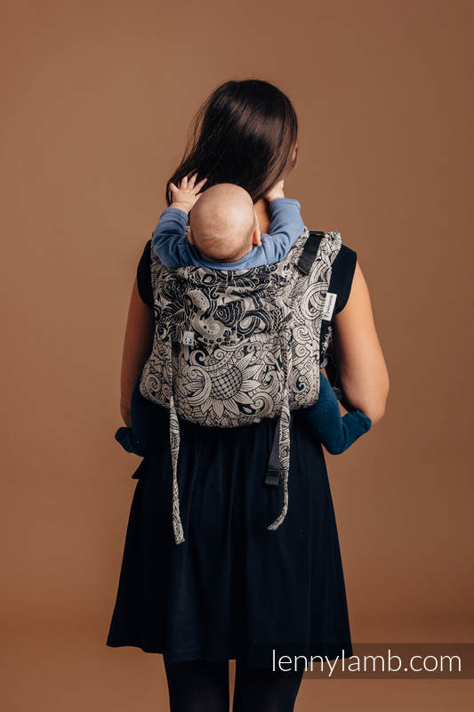 Lenny Buckle Onbuhimo baby carrier, standard size, jacquard weave (96% cotton, 4% metallised yarn) - HARVEST #babywearing