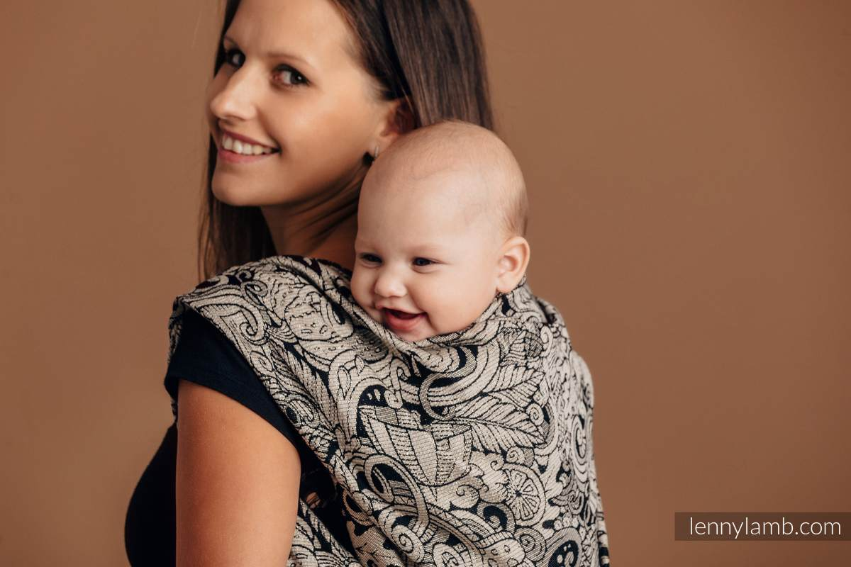 Baby Wrap, Jacquard Weave (96% cotton, 4% metallised yarn) - HARVEST - size XS #babywearing