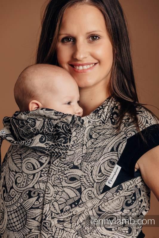 Nosidełko dla dzieci WRAP-TAI MINI, 96% bawełna, 4% przędza metalizowana, splot żakardowy, z kapturkiem - CZAS ZBIORÓW #babywearing