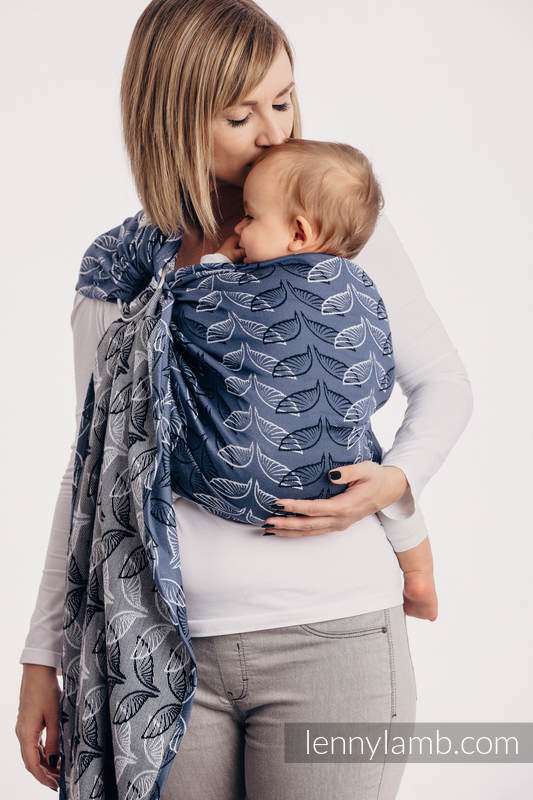Ringsling, Jacquard Weave (100% cotton), with gathered shoulder - ANGEL WINGS - standard 1.8m #babywearing
