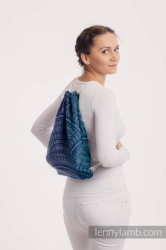 Sackpack made of wrap fabric (100% cotton) - PEACOCK'S TAIL - PROVANCE - standard size 32cmx43cm #babywearing