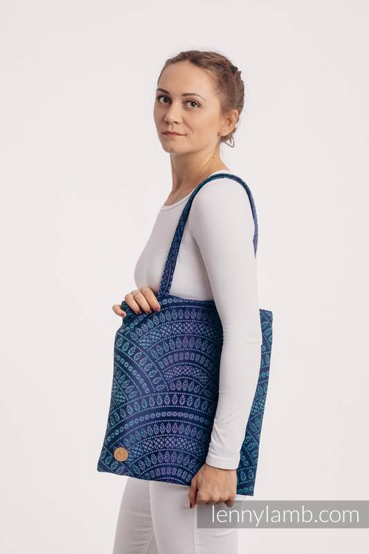 Shopping bag made of wrap fabric (100% cotton) - PEACOCK'S TAIL - PROVANCE  #babywearing