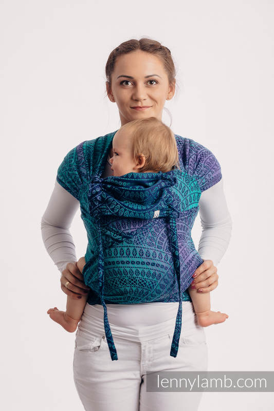 WRAP-TAI carrier Mini with hood/ jacquard twill / 100% cotton / PEACOCK'S TAIL - PROVANCE  #babywearing