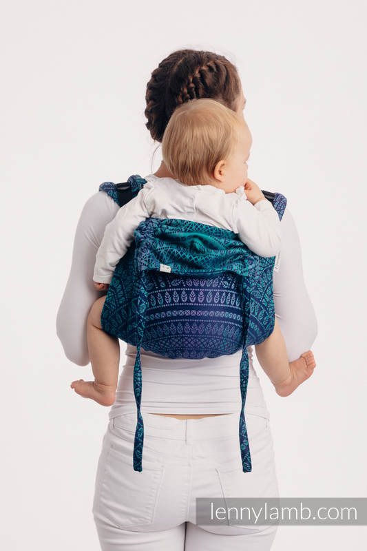 Onbuhimo SAD LennyLamb, talla estándar, jacquard (100% algodón) - PEACOCK'S TAIL -PROVANCE  #babywearing