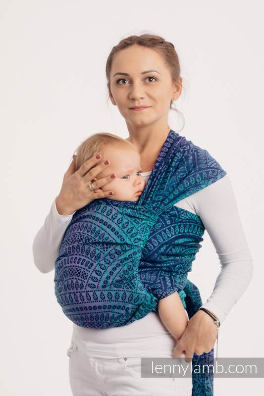 Écharpe, jacquard (100% coton) - PEACOCK'S TAIL - PROVANCE  - taille M #babywearing