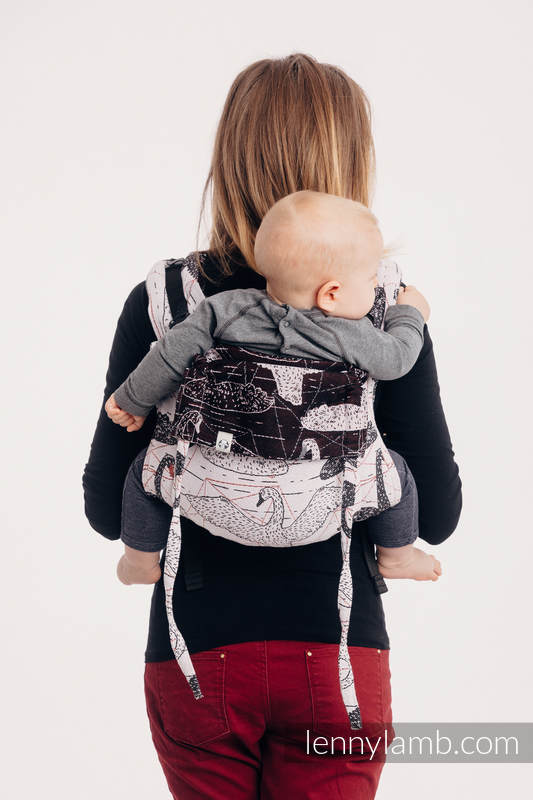 Lenny Buckle Onbuhimo baby carrier, toddler size, jacquard weave (100% cotton) - WILD SWANS #babywearing
