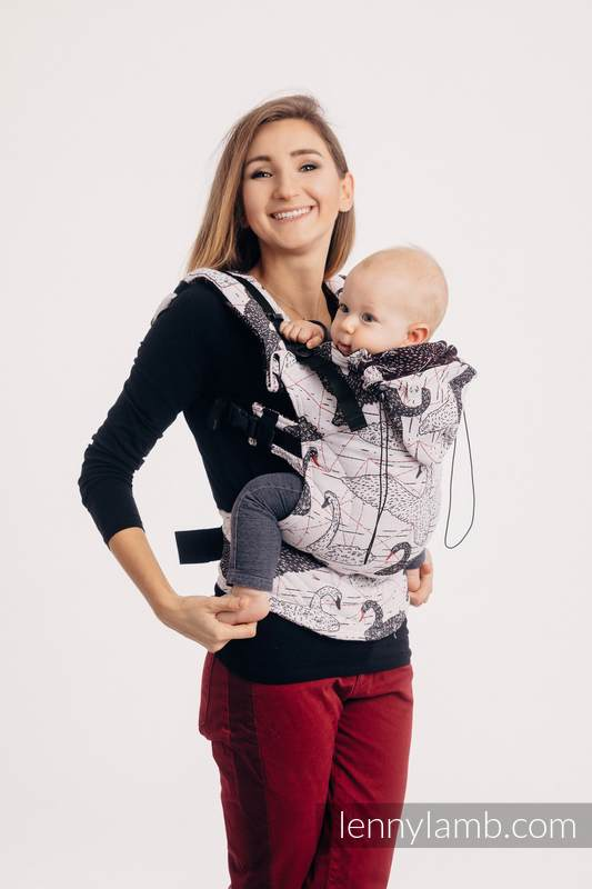 Ergonomic Carrier, Baby Size, jacquard weave 100% cotton - WILD SWANS - Second Generation #babywearing