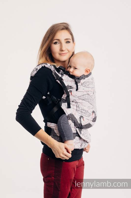 LennyUp Carrier, Standard Size, jacquard weave 100% cotton - WILD SWANS #babywearing