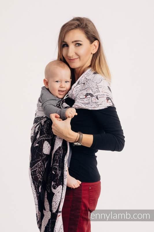 Żakardowa chusta kółkowa do noszenia dzieci, 100% bawełna, ramię bez zakładek - DZIKIE ŁABĘDZIE - long 2.1m #babywearing