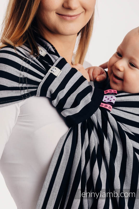 Ringsling, Broken twill Weave (100% cotton), with gathered shoulder - LIGHT AND SHADOW  - standard 1.8m #babywearing