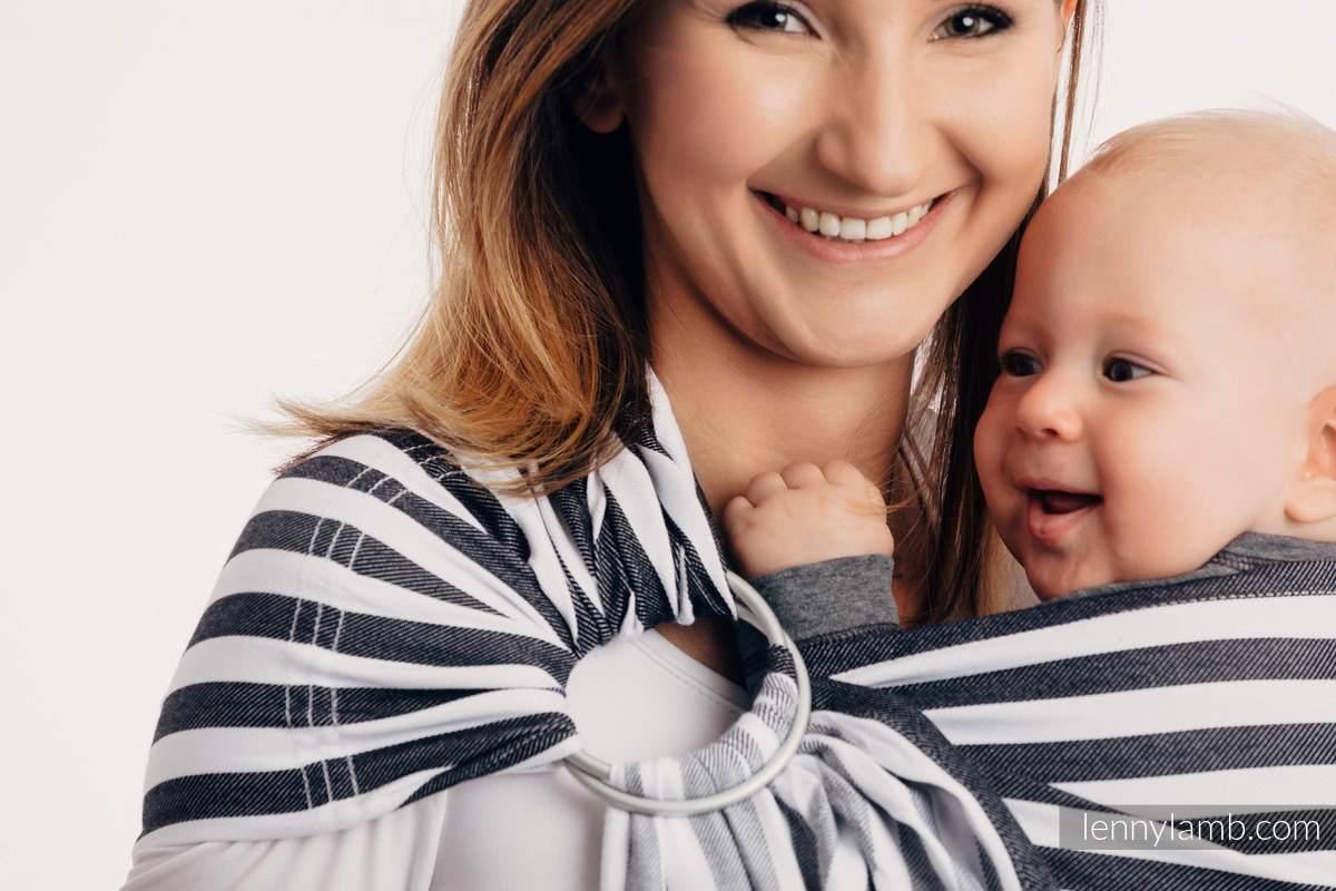 Chusta kółkowa do noszenia dzieci, tkana splotem skośnym - bawełniana, ramię bez zakładek - DZIEŃ I NOC #babywearing