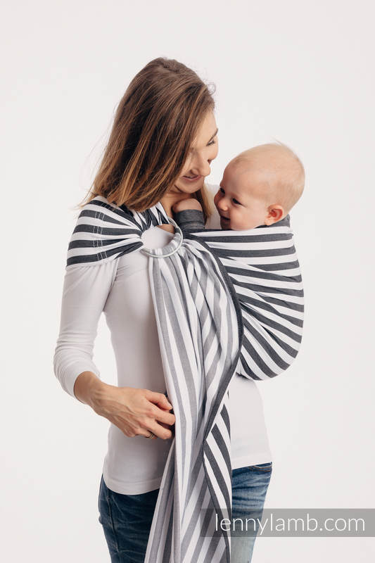 Ringsling, Broken twill Weave (100% cotton), with gathered shoulder - DAY AND NIGHT - standard 1.8m #babywearing
