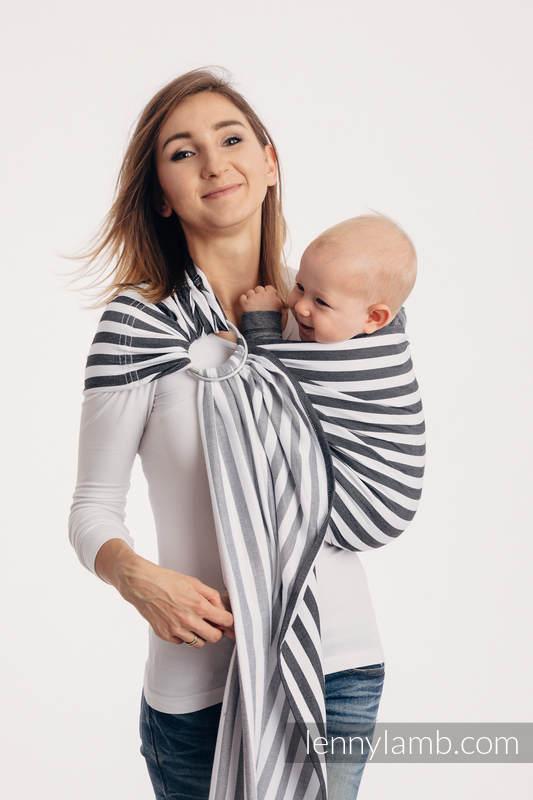 Chusta kółkowa do noszenia dzieci, tkana splotem skośnym - bawełniana, ramię bez zakładek - DZIEŃ I NOC - long 2.1m (drugi gatunek) #babywearing
