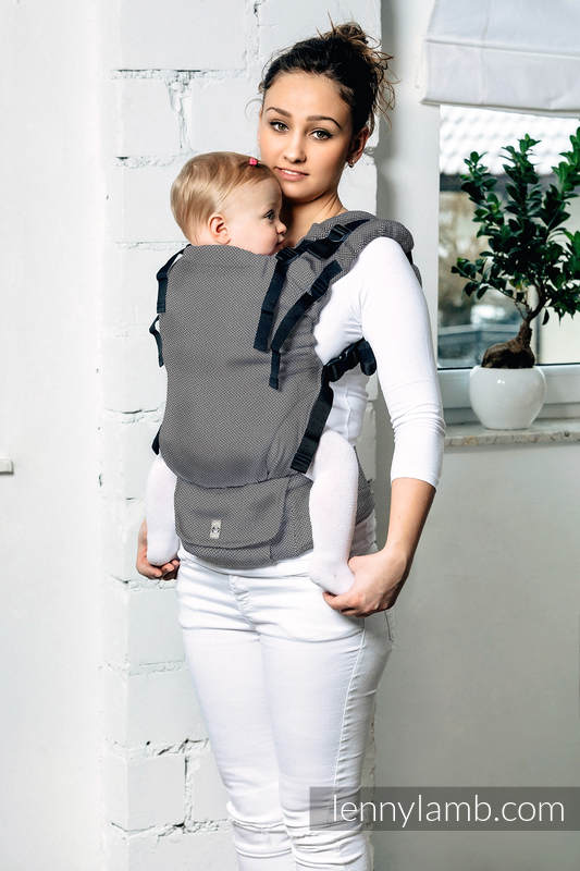 LennyUp Carrier, Standard Size, herringbone weave, 100% cotton - BASIC LINE GRAPHITE #babywearing