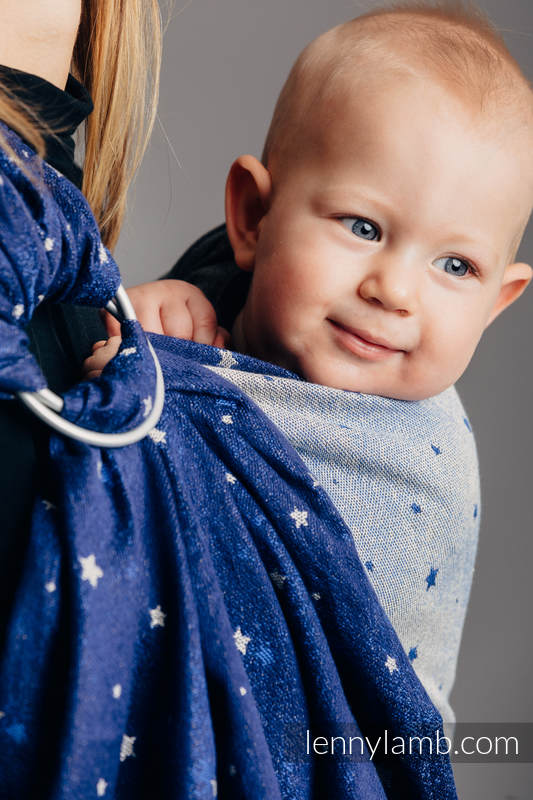 Ringsling, Jacquard Weave (96% cotton, 4% metallised yarn) - TWINKLING STARS - standard 1.8m #babywearing
