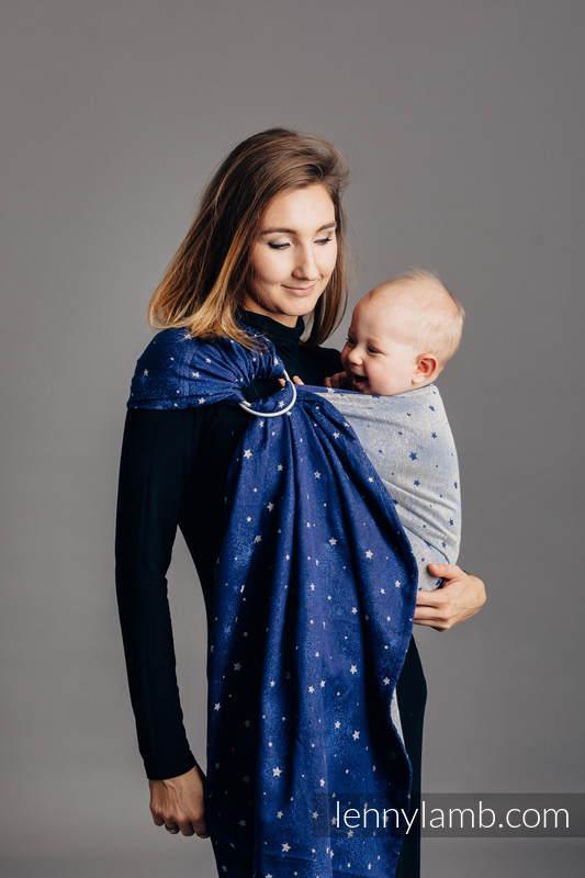 Ringsling, Jacquard Weave (96% cotton, 4% metallised yarn) - with gathered shoulder - TWINKLING STARS - standard 1.8m #babywearing