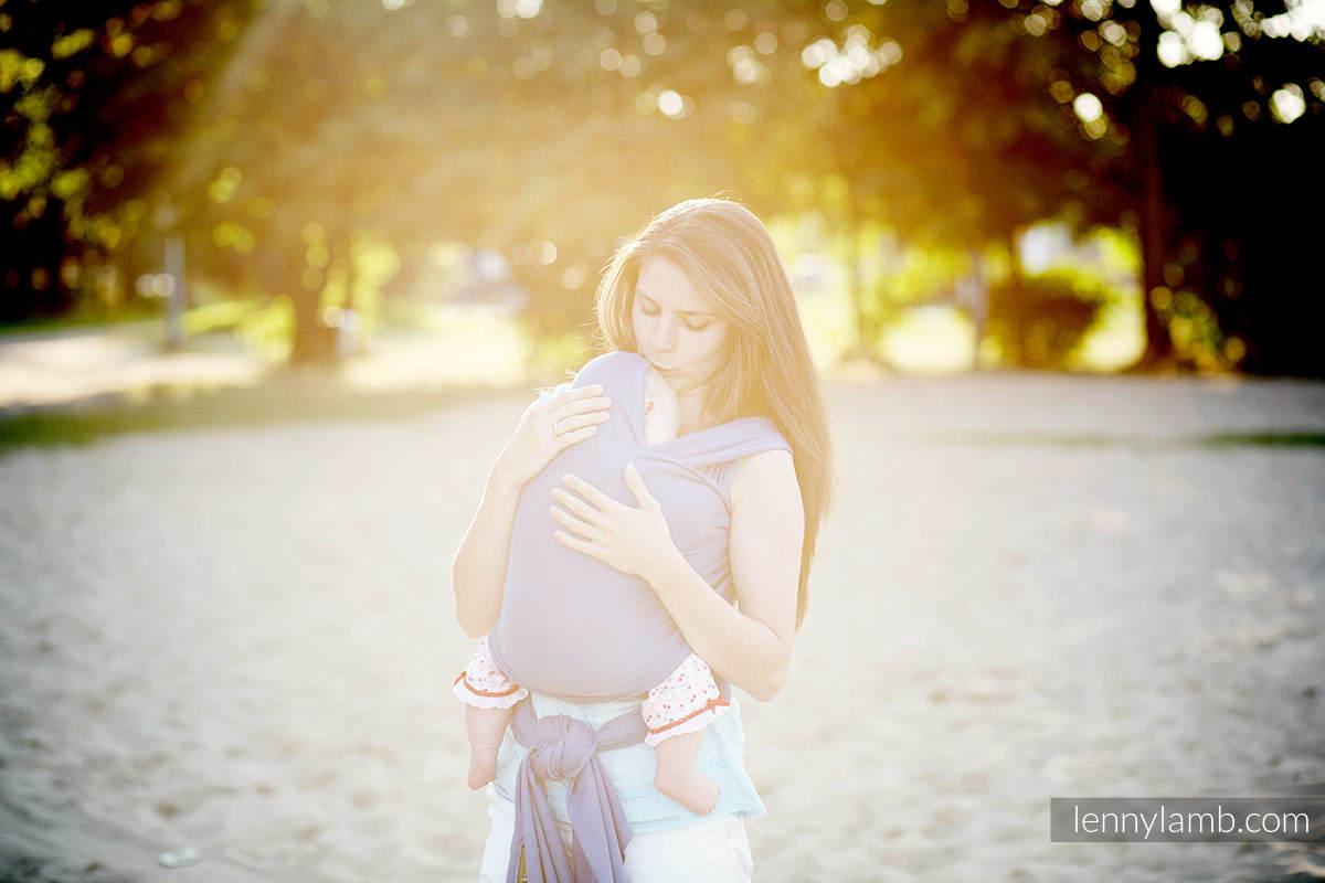 Chusta do noszenia dzieci, elastyczna - Lapis Lazuli - rozmiar standardowy 5.0 m #babywearing